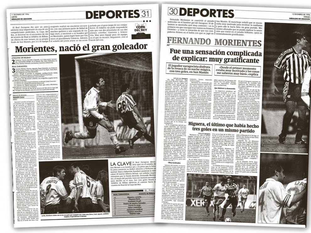 Páginas del HERALDO DE ARAGÓN con la crónica y las informaciones del 2-3 logrado por el Real Zaragoza en Bilbao en enero de 1996, con los 3 goles de Morientes en aquel partido de Copa.