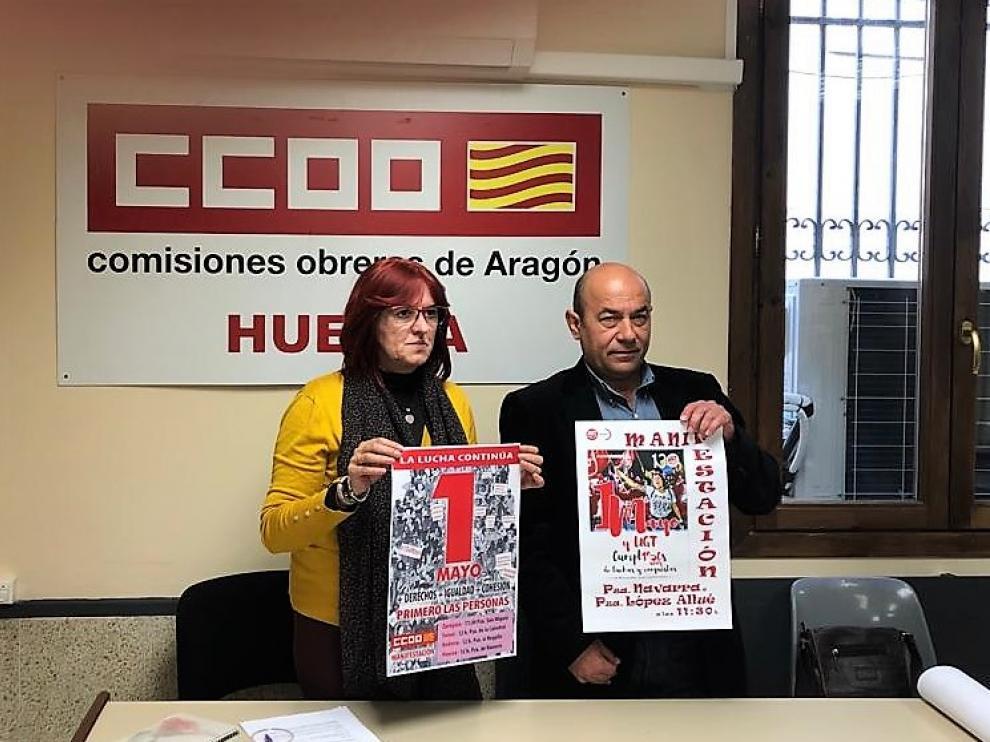 Conchi Giménez y Daniel Alastuey, secretaria general de CC.OO. Huesca y secretario general de UGT Aragón
