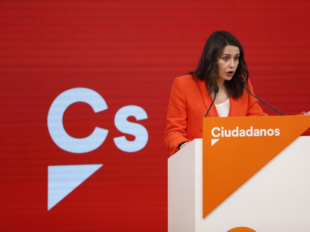 Inés Arrimadas este lunes tras la reunión ejecutiva de Cs