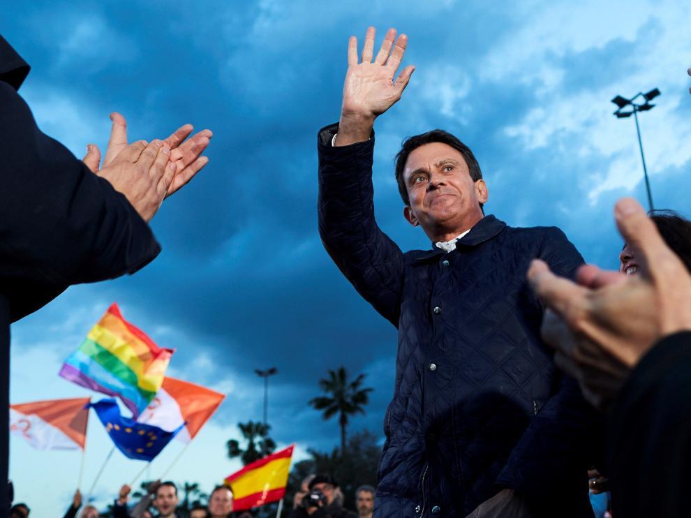 Manuel Valls en un acto de campaña en Barcelona.