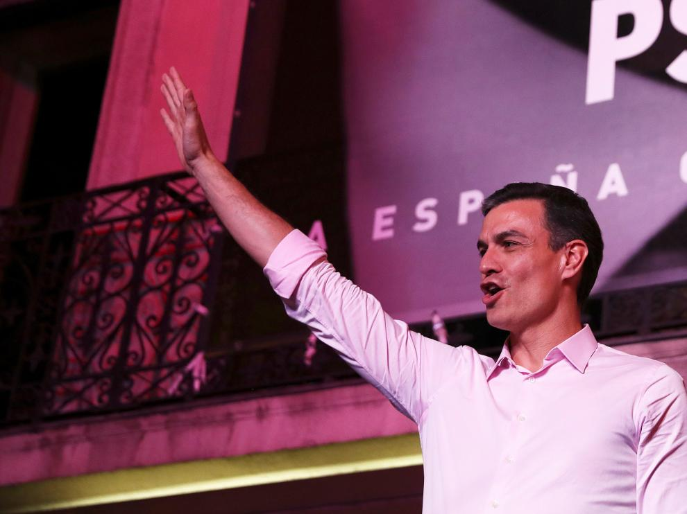 Pedro Sánchez, presidente y candidato socialista, la noche electoral.