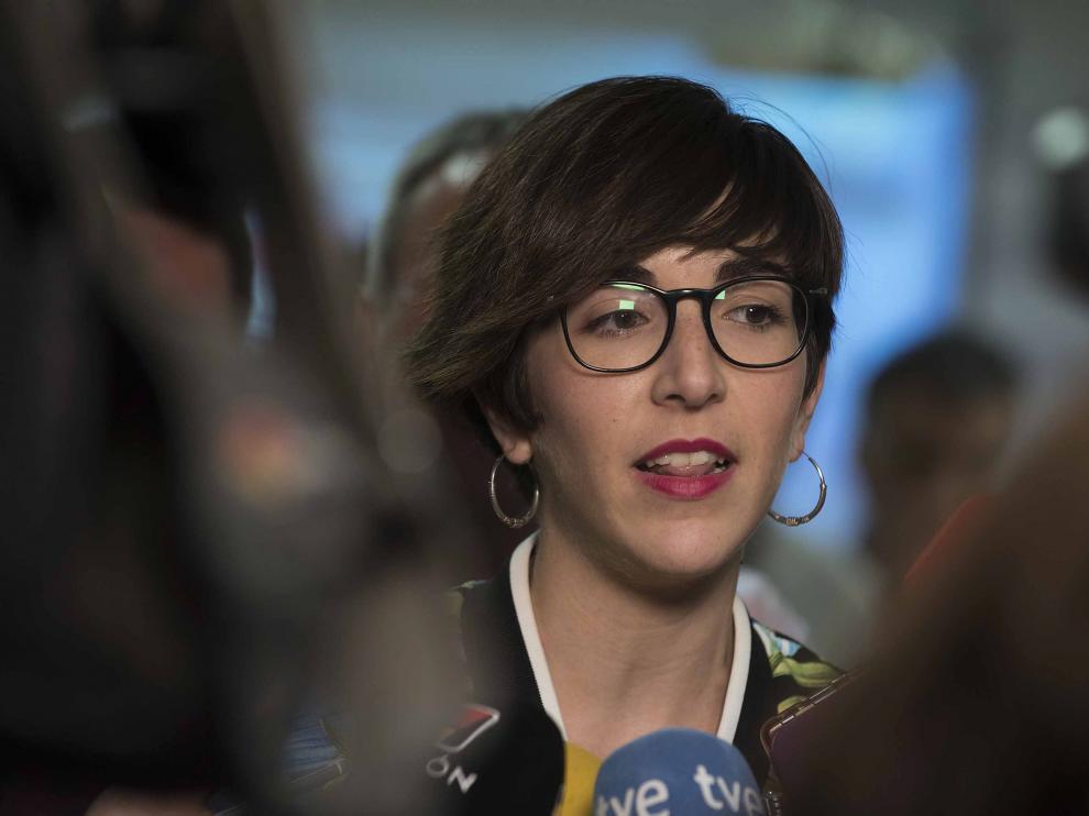 Violeta Barba, en la sede de Unidas Podemos en Zaragoza.