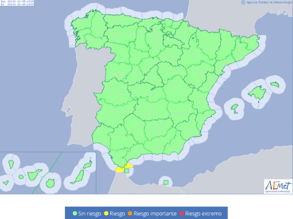 Mapa de los avisos meteorológicos para el miércoles 1 de mayo,