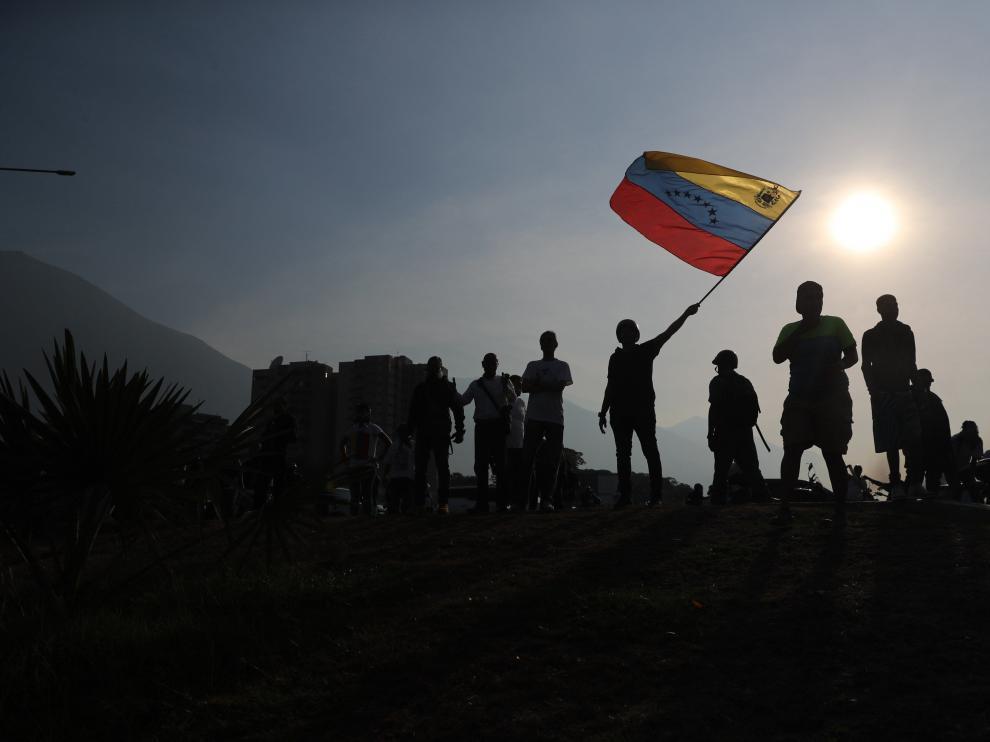 Simpatizantes de Juan Guaidó se manifiestan este martes en Caracas.