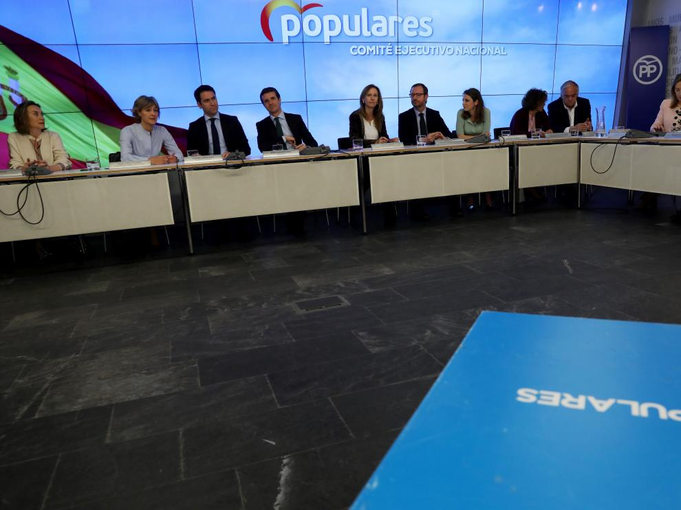 People's Party (PP) leader Pablo Casado sits at the start of an executive meeting at their headquarters two days after Spain's general election in Madrid, Spain, April 30, 2019. REUTERS/Susana Vera [[[REUTERS VOCENTO]]] SPAIN-ELECTION/PP