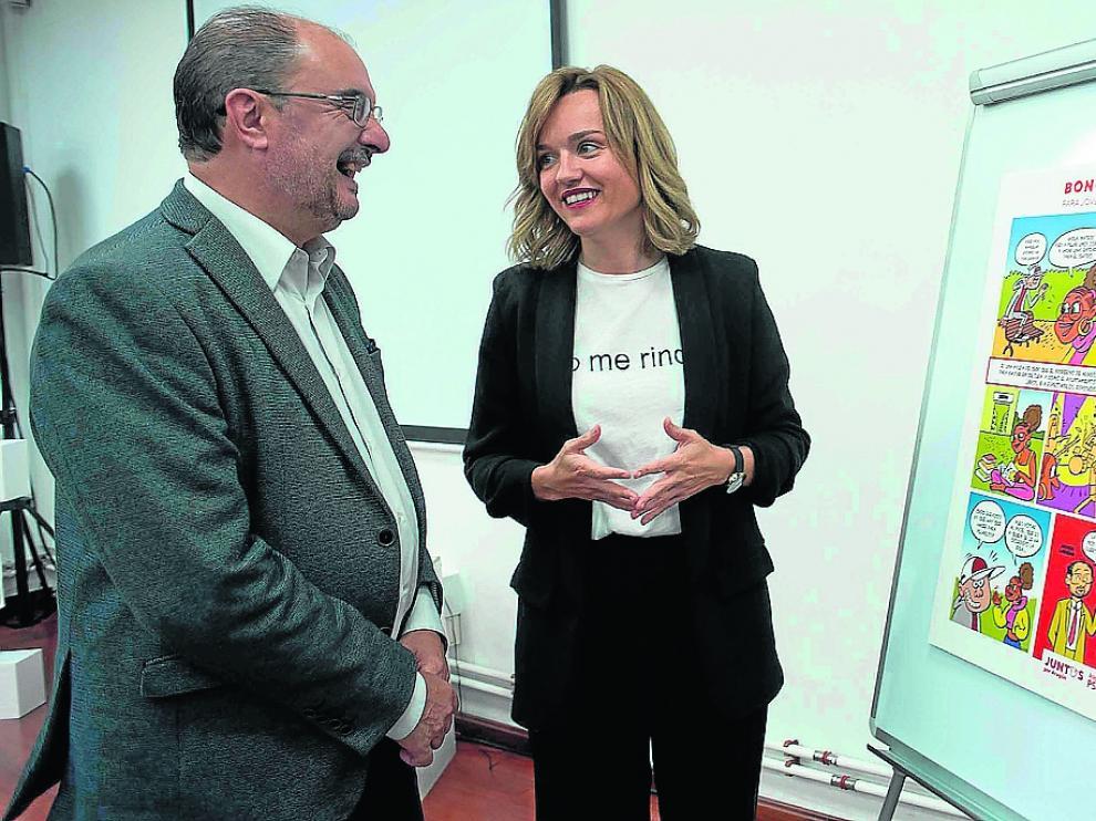 El candidato a la DGA Javier Lambán y la aspirante a la alcaldía de Zaragoza Pilar Alegría.