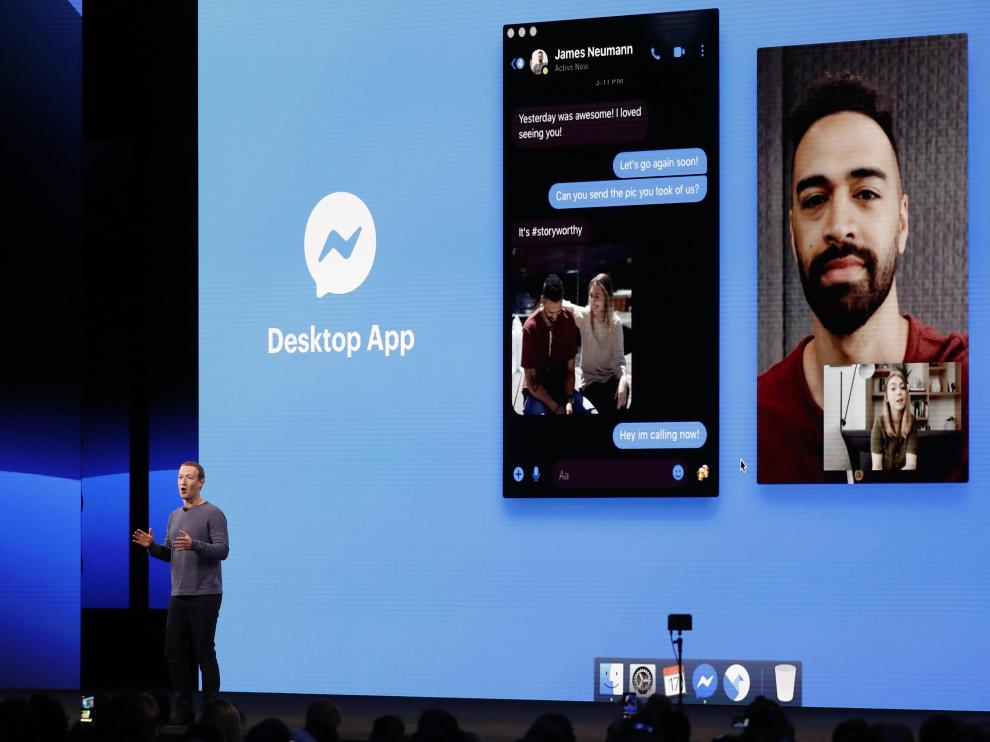 Facebook CEO Mark Zuckerberg speaks about a new desktop app during his keynote at Facebook Inc's annual F8 developers conference in San Jose, California, U.S., April 30, 2019. REUTERS/Stephen Lam [[[REUTERS VOCENTO]]] FACEBOOK-F8CONFERENCE/