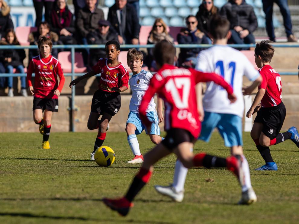 Imagel del partido alevín jugado en la Ciudad Deportiva entre el Real Zaragoza y el Montecarlo