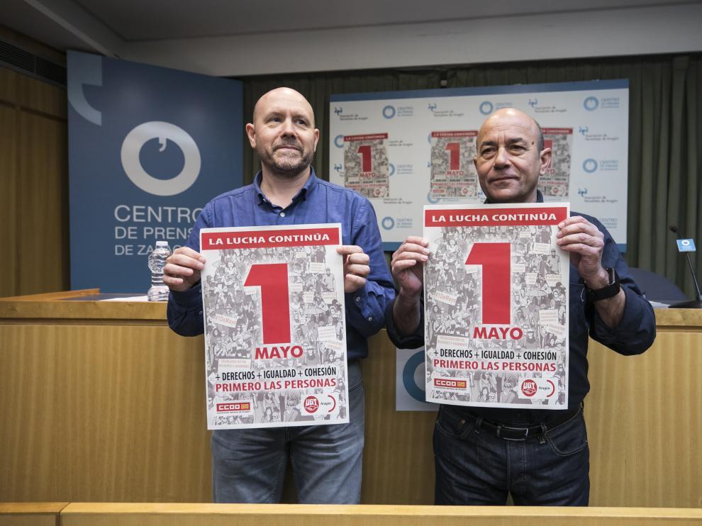 Manuel Pina y Daniel Alastuey, secretarios generales de CC. OO. y UGT, respectivamente