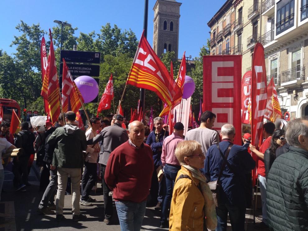 Los sindicatos han difundido fotos de las movilizaciones en Zaragoza por las redes sociales