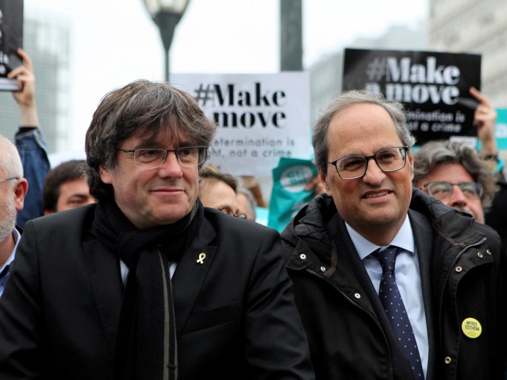 Puigdemont y Torra, en una imagen de archivo en Bruselas.