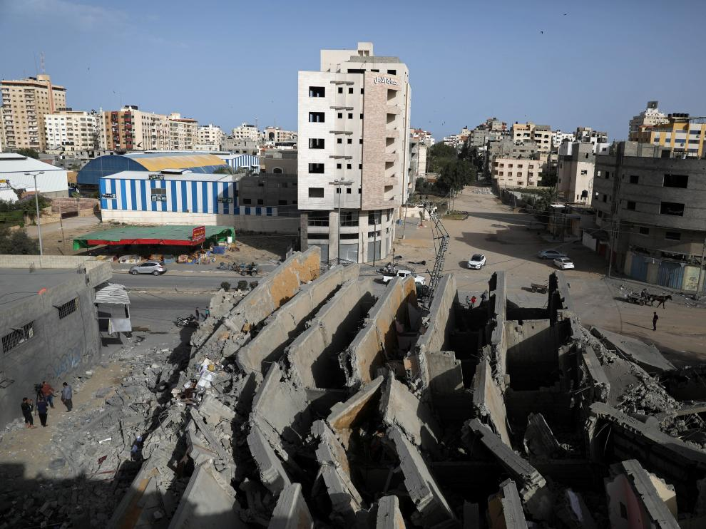 A view shows the remains of a building that was destroyed by Israeli air strikes, in Gaza City May 6, 2019. REUTERS/Mohammed Salem [[[REUTERS VOCENTO]]] ISRAEL-PALESTINIANS/