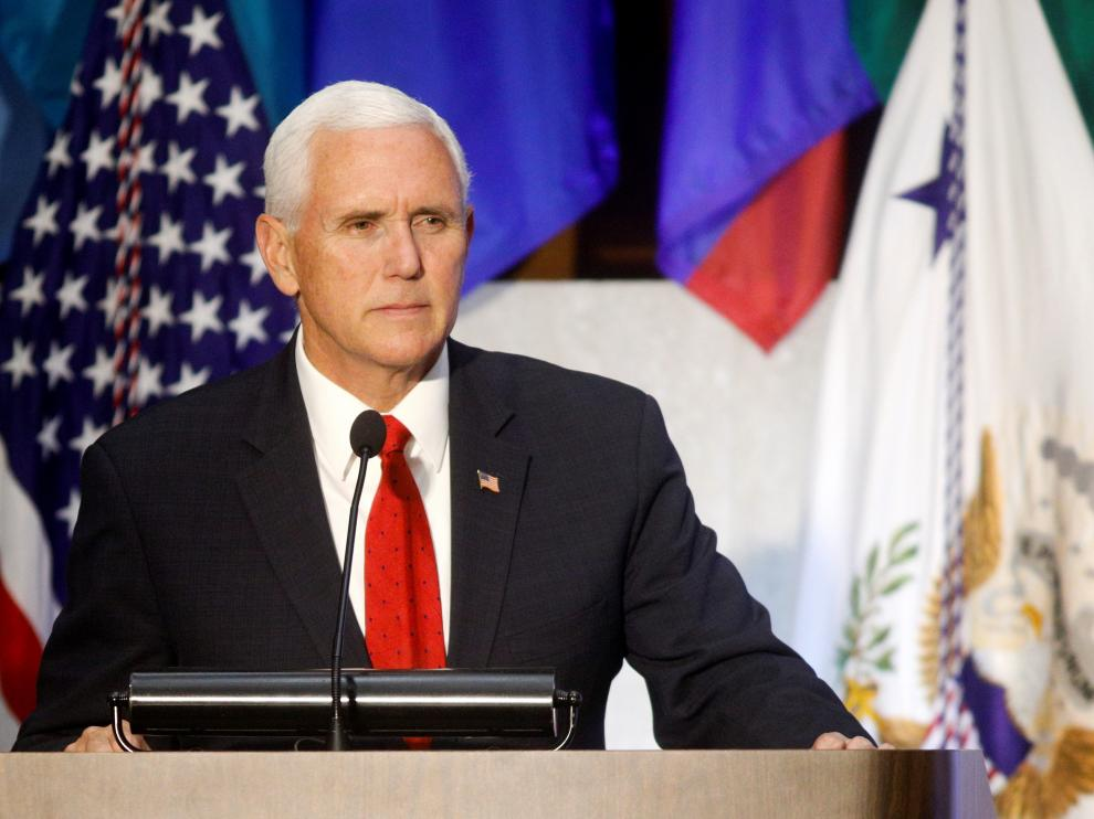 U.S. Vice President Mike Pence speaks at the Americas Society / Council of the Americas 49th Washington Conference on the Americas at the U.S. State Department in Washington, U.S. May 7, 2019.   REUTERS/Tom Brenner [[[REUTERS VOCENTO]]] VENEZUELA-POLITICS/USA