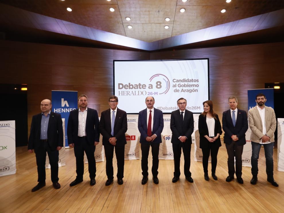 Preparativos del debate de los candidatos al Gobierno de Aragón.