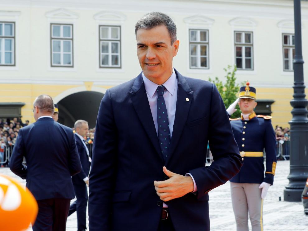 El presidente del Gobierno, Pedro Sánchez, antes de abandonar la cumbre europea en Sibu (Rumanía).