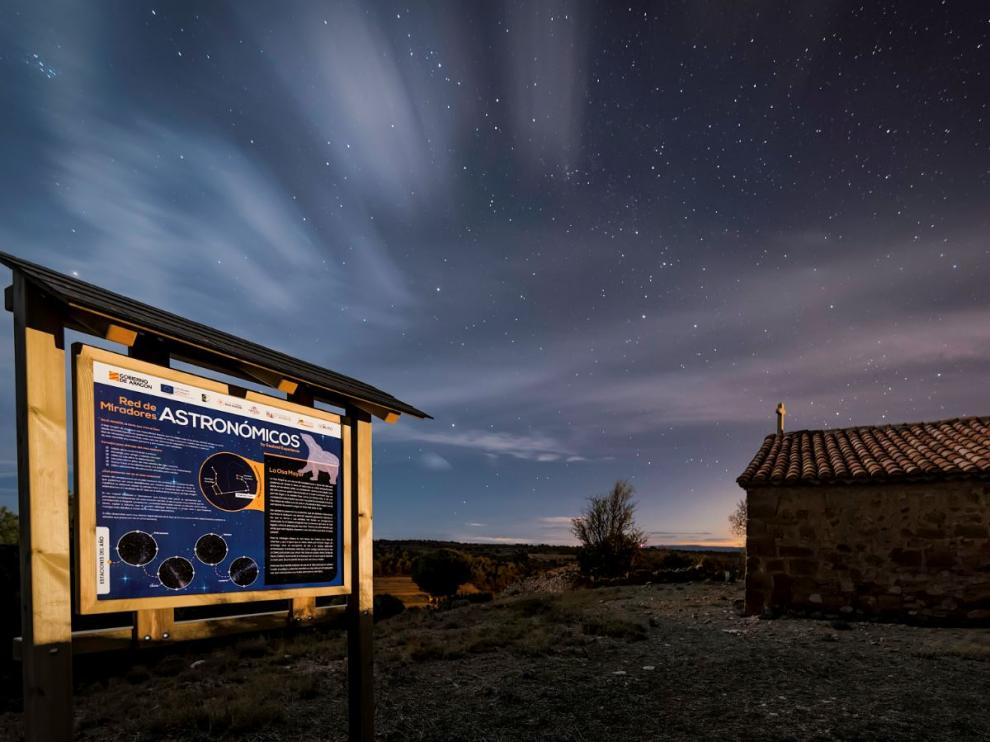 Mirador astronómico en La Mata de los Olmos, en la Comarca del Bajo Aragón.