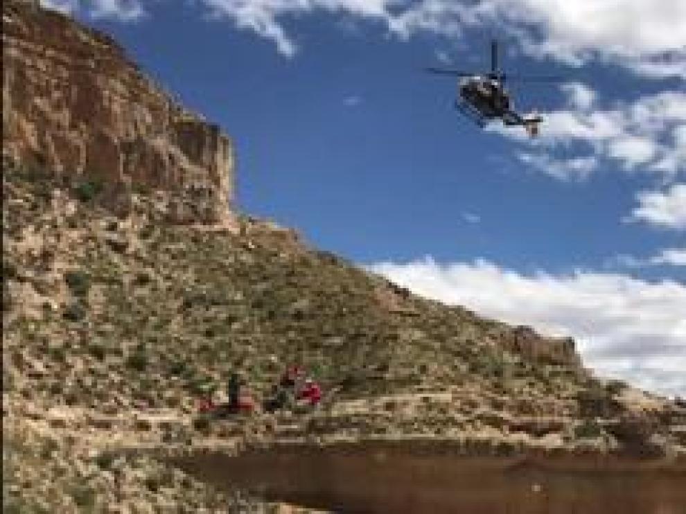 El accidente ocurrió en el barranco de Barrachina. El herido fue trasladado en helicóptero al hospital Obispo Polanco.