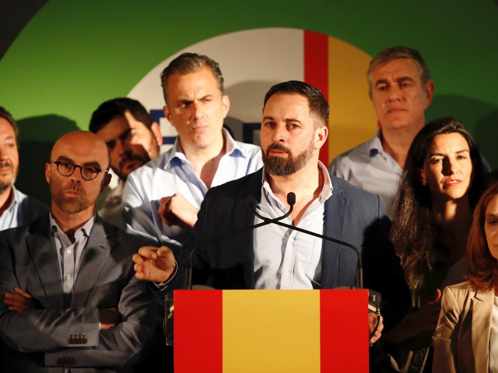 El líder de Vox, Santiago Abascal, en un acto de campaña.