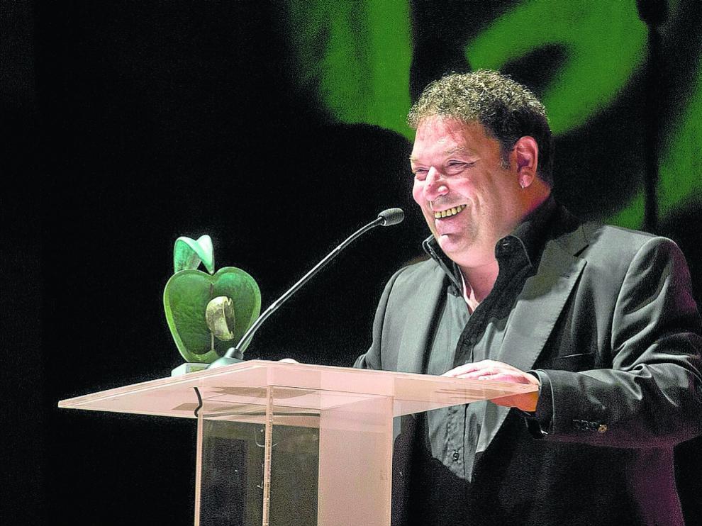 El actor Jorge Asín, durante el acto en el que recibió, ayer, el premio Villa de La Almunia.