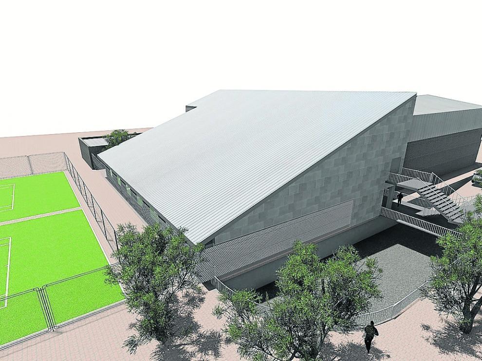 Recreación infográfica de la nueva piscina climatizada de Alcañiz.