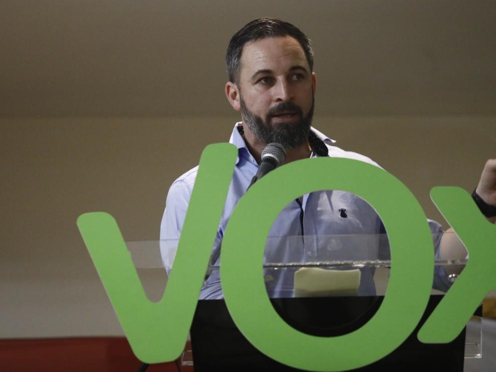 El líder de Vox ha participado este martes en un mitin en la capital aragonesa.