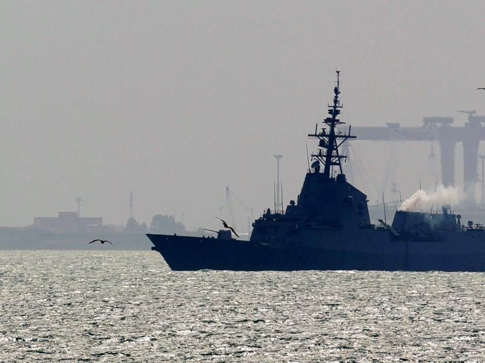 FILE PHOTO: Spanish Navy frigate Mendez Nunez arrives to the naval base port of Rota in southern Spain, March 22, 2011.REUTERS/Javier Diaz/File Photo [[[REUTERS VOCENTO]]] USA-IRAN/SPAIN