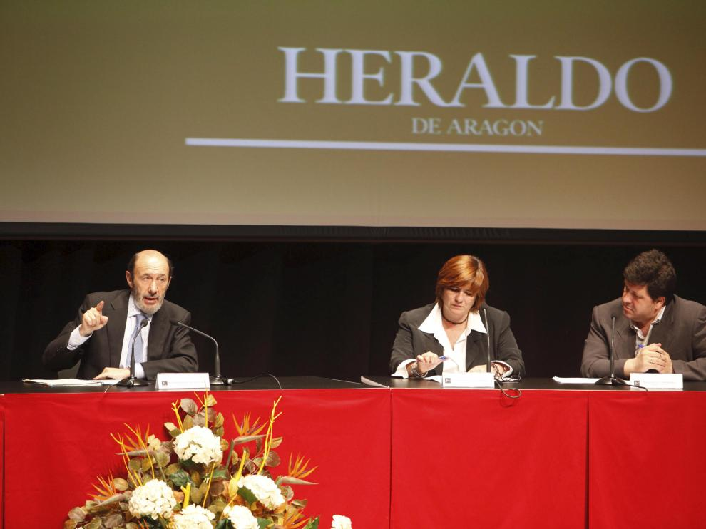 Alfredo Pérez Rubalcaba participó como ministro del Interior en un Foro de Heraldo de Aragón en el Palacio de Congresos en Huesca, en 2009.