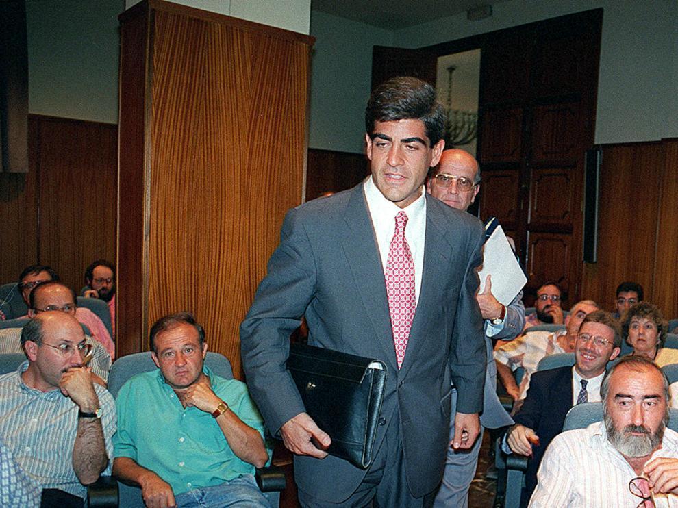 Augusto Guardiola, durante una junta de accionistas del Peñas Recreativas.