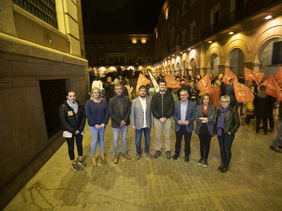 Los cabezas de lista a las Cortes por Teruel posan en el arranque de la campaña.