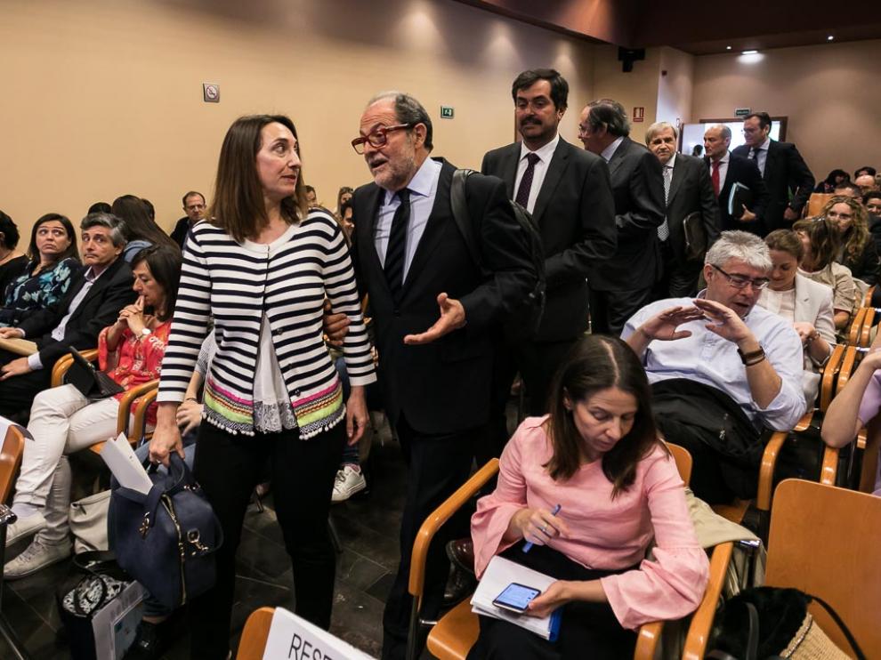 Jornada sobre 'El nuevo marco de las relaciones laborales' que ha tenido lugar hoy en CEOE Aragón con una presencia masiva de empresarios