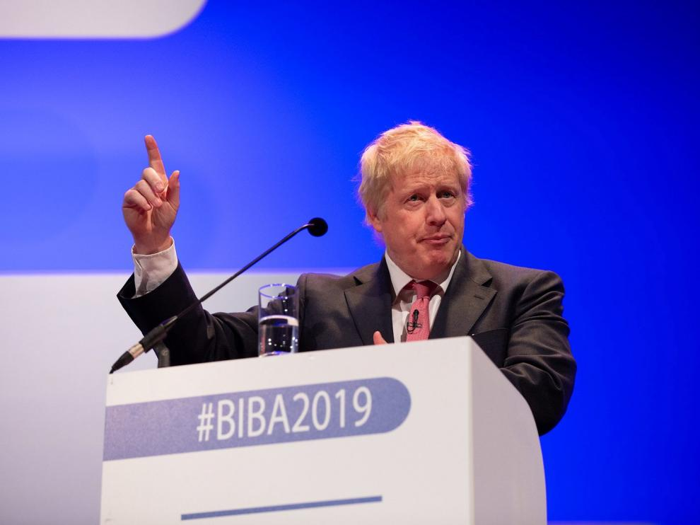 Boris Johnson attends the 2019 British Insurance Brokers' Association (BIBA) conference in Manchester, Britain May 16, 2019, in this handout photo obtained by Reuters on May 16, 2019. MUST ON SCREEN COURTESY BIBA 2019 CONFERENCE/Handout via REUTERS THIS IMAGE HAS BEEN SUPPLIED BY A THIRD PARTY. NO RESALES. NO ARCHIVES [[[REUTERS VOCENTO]]] BRITAIN-EU/JOHNSON