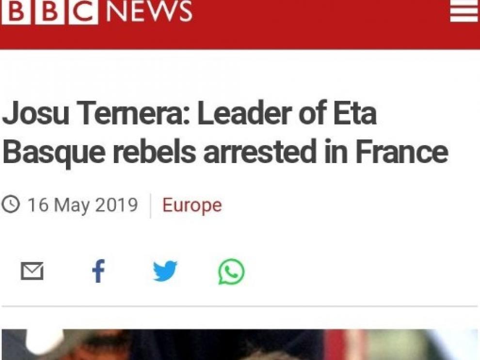 """Indignación ante el titular de la BBC que llamó a Josu Ternera """"líder de los rebeldes vascos"""""""