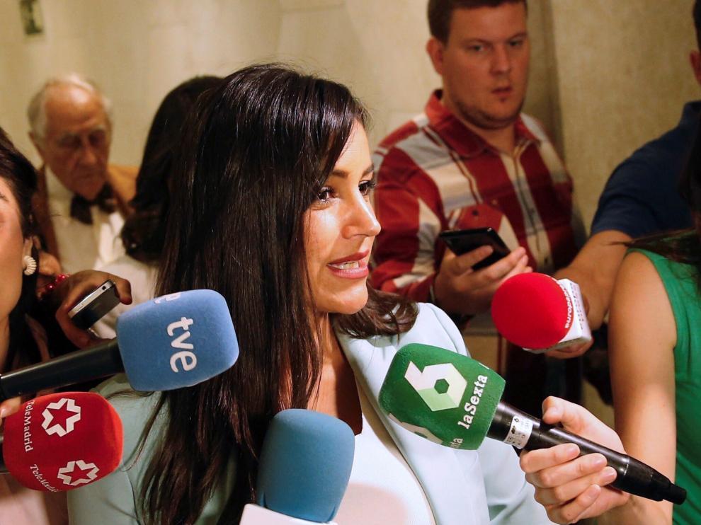 Begoña Villacís durante un acto en Madrid, un día antes de dar a luz a su tercera hija.