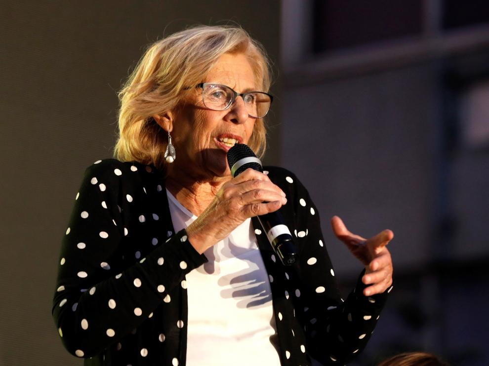 Manuela Carmena durante un acto de campaña en Madrid.