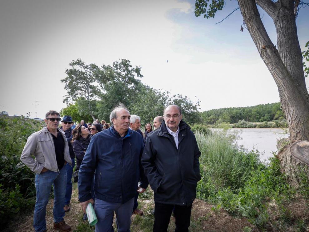 Javier Lambán, este domingo en Pradilla de Ebro, donde ha presentado el plan Ebro 2030.