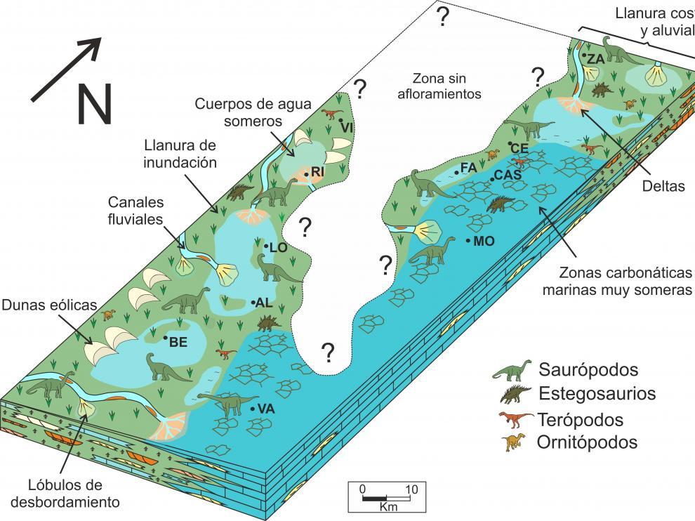 Recreación del paisaje jurásico en la zona de confluencia de las comunidades de Aragón y Valencia.