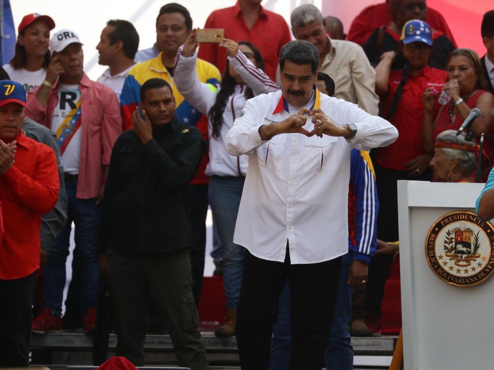 Nicolás Maduro durante el acto celebrado en Caracas para conmemorar su victoria en las elecciones.