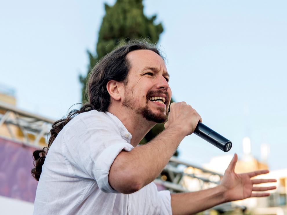 Pablo Iglesias, durante el acto electoral donde ha criticado las donaciones de Amancio Ortega.