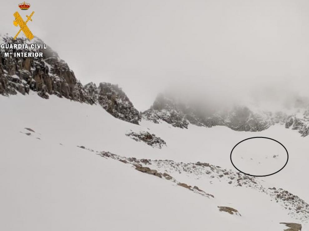 Fotografía del lugar donde tuvo lugar el rescate de la esquiadora.