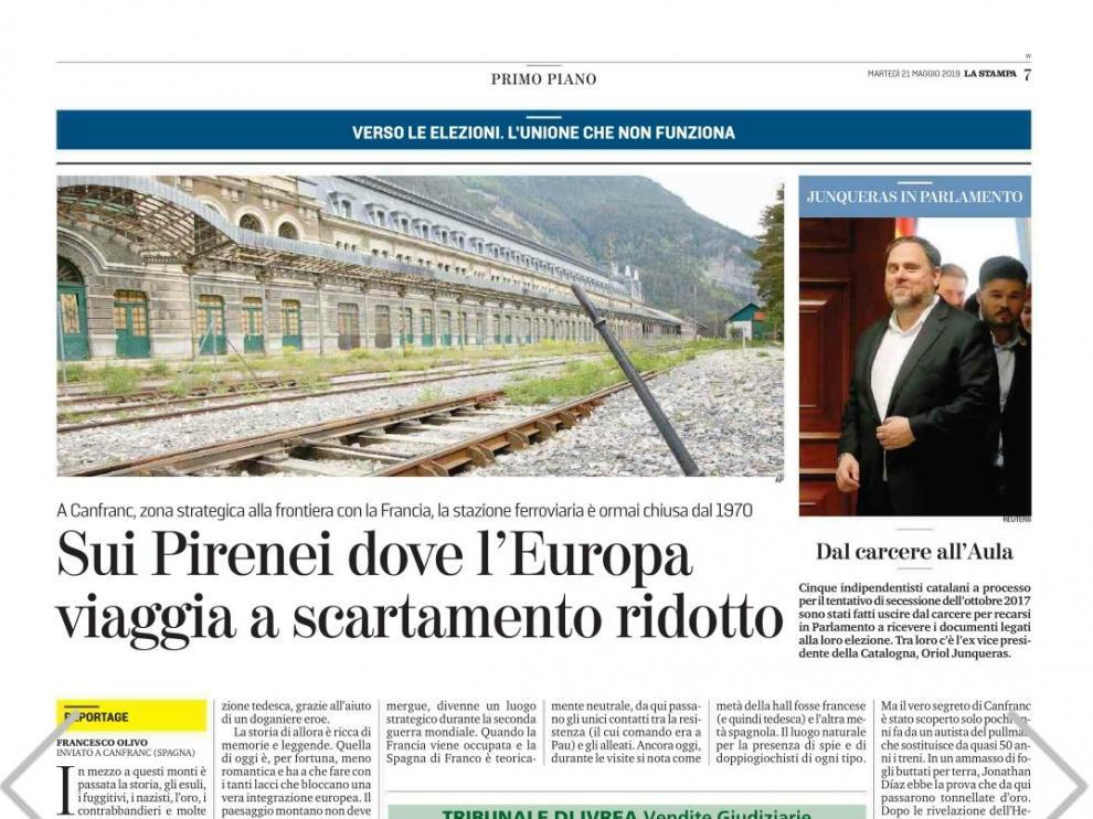 Reportaje publicado en el diario italiano 'La Stampa' sobre la estación de Canfranc dentro de las elecciones europeas del domingo.