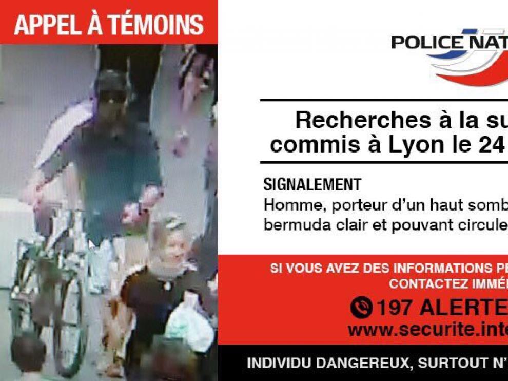 Imagen difundida por la Policía francesa del sospechoso del ataque en Lyon.