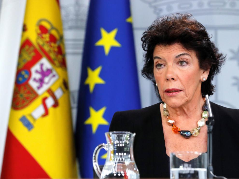 La portavoz del Ejecutivo, Isabel Celaá.