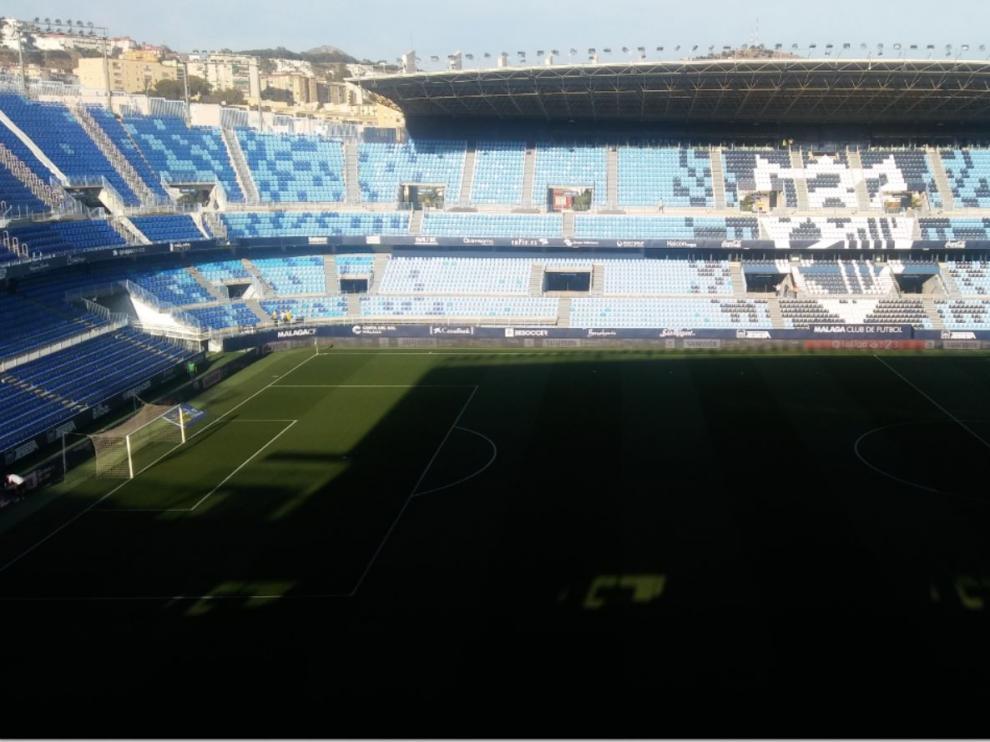 El estadio de La Rosaleda de Málaga, a las 19.30, hora y media antes del inicio del partido Málaga CF-Real Zaragoza.