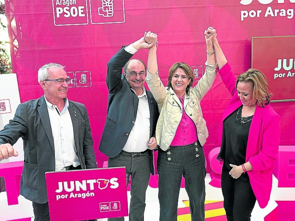 mitin del Psoe en Teruel con la ministra de Justicia Dolores Delgado,Javier Lamban y Samuel Moron. foto Antonio garcia/bykofoto. 23/05/19 [[[FOTOGRAFOS]]]