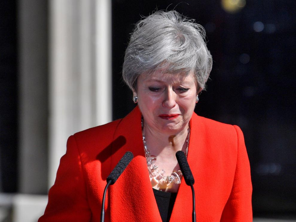 Theresa May en el discurso que ha dado este viernes, donde ha anunciado su dimisión.
