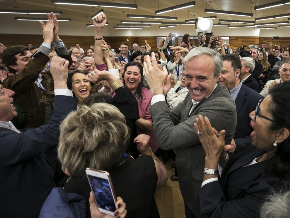 Azcón, ayer en la celebración del PP