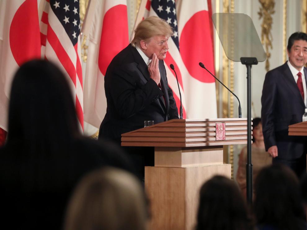 El presidente estadounidense Donald Trump, en rueda de prensa en Japón.