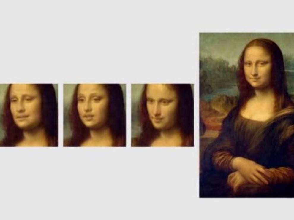El cuadro de Leonardo, y varias imágenes de las desarrolladas por Samsung.