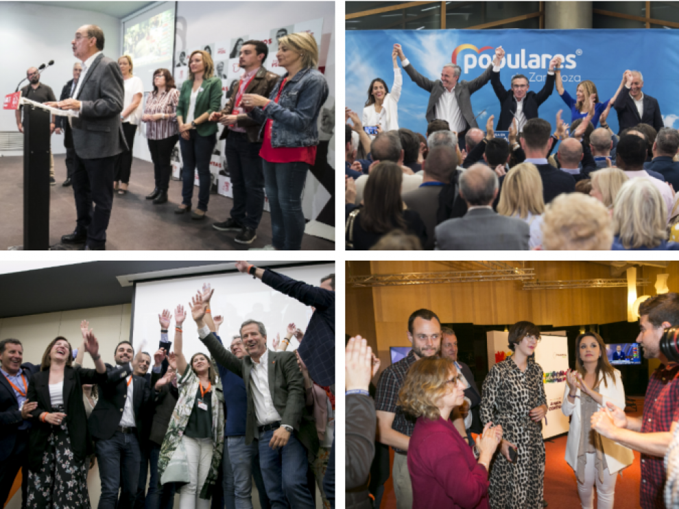 Reacciones en las sedes de los principales partidos en Aragón