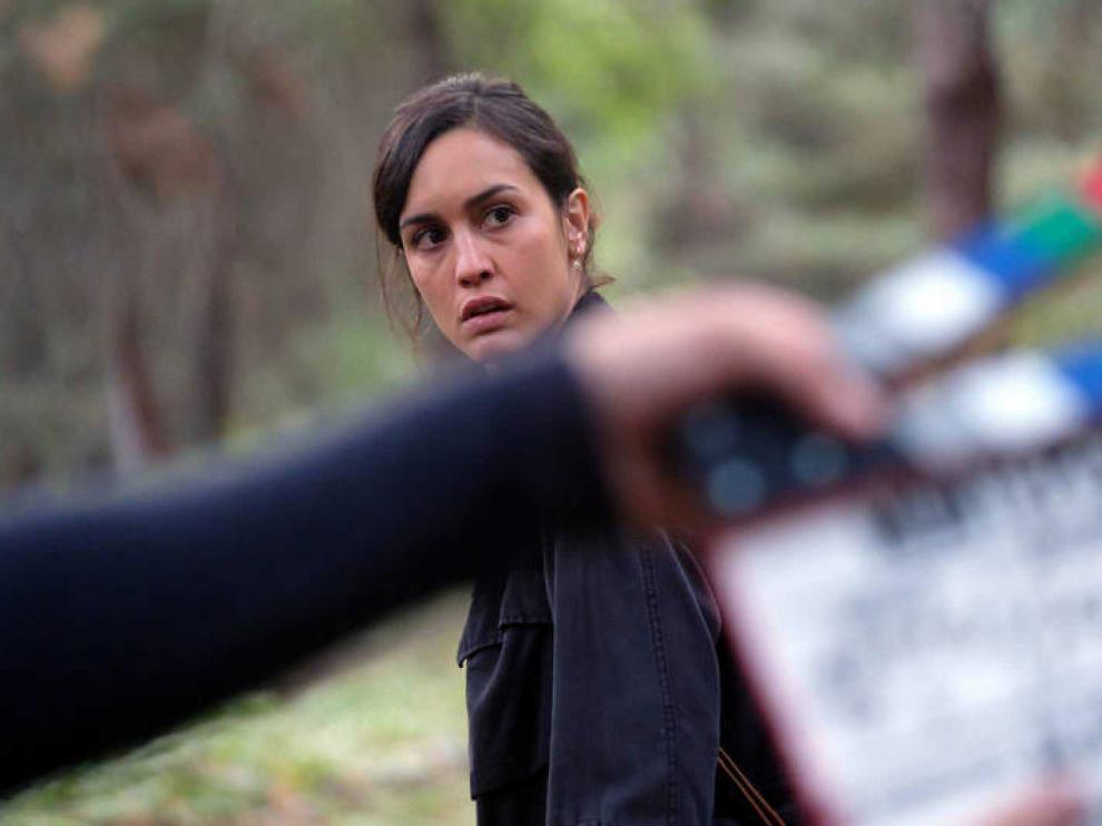 Megan Montaner, durante el rodaje de un capítulo.